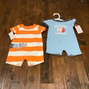 New Newborn Boys Striped & Solid Rompers beach